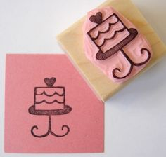 Birthday Cake Hand Carved Rubber Stamp - cupcaketree