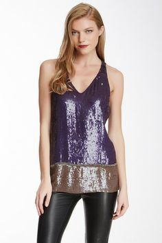 Cynthia Rowley Deep V-neck Sequin Tank by Non Specific on @HauteLook