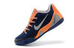 Mens Nike Kobe 9 Low EM Dark Blue/Orange-Grey