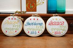 DIY a hand embroidered ornament for baby's first Christmas.