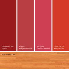 Suggested Red Paint PicksThese reds look fantastic against a red oak floor, with its slightly pink cast.From left to right: Strawberry Hills from Mythic Paint, Poppy from Benjamin Moore, Heartfelt from Sherwin-Williams and Salsa del Sol from Kelly-Moore Warm Kitchen Colors, Colorful Kitchen Decor, Red Kitchen Decor, Colorful Decor, Red Paint Colors, Paint Colors For Home, Red Color, Bedroom Wall Colors, Room Colors
