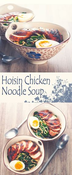 Soup: Hoisin Chicken Noodle Soup Recipe: This dish is a bit of an homage to Wagamama a place I liked for quick and simple food in the UK, an Asian inspired hoisin chicken breast in a simple broth. Chicken Ramen Recipe, Hoisin Chicken, Chicken Recipes, Chicken Noodle Soups, Ramen Noodle, Noodle Salad, Asian Recipes, Healthy Recipes, Asian Egg Noodle Recipes