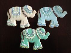Indian Elephant Decorated Sugar Cookies