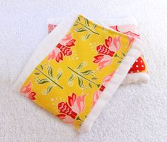 Pink & Red Flowers Yellow Burp Cloth by Sewingdreamsnotions
