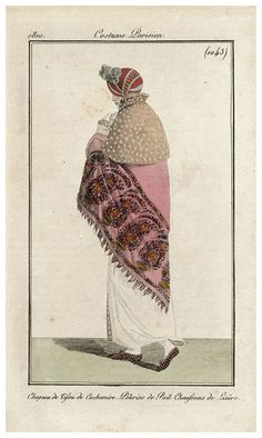 A pink shawl with boteh design 1810 costume parisien