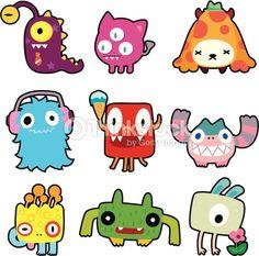 9 cute cartoon monster icon set