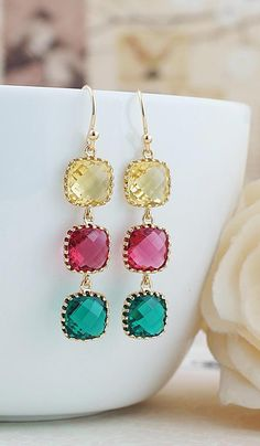 Citrine Yellow, Red Ruby and Emerald Green Glass drops earrings from EarringsNation Colorful Weddings