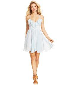 GUESS Striped Ruffle Dress - Juniors Dresses - Macy's