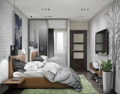 #Спальня #дизайн #кирпичнаястена #чб #blackwhite #brickwall #design #bedroom