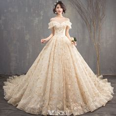 Chic / Beautiful Champagne See-through Wedding Dresses 2018 A-Line / Princess Scoop Neck Short Sleeve Backless Appliques Lace Glitter Sequins Cathedral Train Ruffle Pretty Quinceanera Dresses, Wedding Dresses 2018, Pretty Dresses, Bridal Dresses, Gown Wedding, Wedding Ceremony, Lace Wedding, Quince Dresses, Ball Dresses