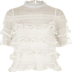 White dobby mesh frill layer turtleneck top £32.00
