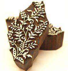 Detailed Leaf Design Indian Wooden BLock Henna Mehindi Stamps | catfluff - Craft Supplies on ArtFire