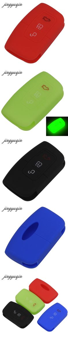 jingyuqin 3 Button Remote Silicone Car Fob Key Case Cover For Ford Focus 2016 2017 Smart Keyless Holder Protector