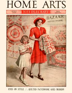 """Home Arts 1939-07  Mother and daughter walking past a needlework bazaar, with a quilt and yarn they've purchased. """"Eyes on Style,"""" and """"Quilted Patchwork Goes Modern.""""     Artist: Olga F. Heese  Source: eBay seller daysoffuturepast, who also sells printed materials from her personal website.  Restoration by: magscanner"""