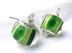 Earrings with lampwork beads by Sandra Ceuppens