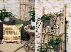 Balkongmöbler och balkongdynor, Granit våren 2018. Spaljé i bambu och bord i rotting.