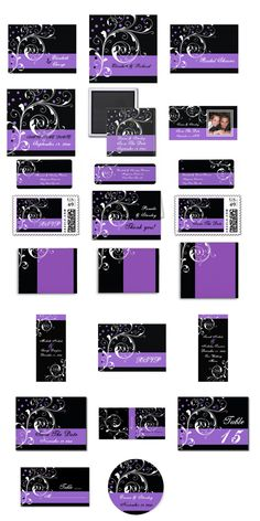 Black, Purple Elegant Floral Scroll Leaf  Dots Wedding Invitations, bridal shower invites, Save the Date announcements, postage stamps and more. #weddinginvitations #weddinginvites #scrollleaf #purple