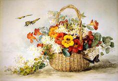 nasturtiumの複数形、ジャスミンと蝶, フレスコ画 バイ Raoul De Longpre (1859-1911, France)