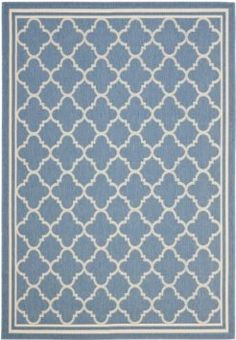 Amazon.com: Safavieh Courtyard Collection CY6918-243 Blue and Beige Indoor/Outdoor Area Rug, 9-Feet by 12-Feet 6-Inch: Furniture & Decor