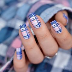 Clear and bright stripe stamping mani Plaid Nail Designs, Plaid Nail Art, Nail Art Stripes, Plaid Nails, Striped Nails, Cool Nail Designs, Born Pretty, Valentine Nail Art, Stainless Steel Nails