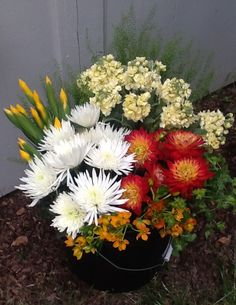 Summer Dahlias with Stock to cool down