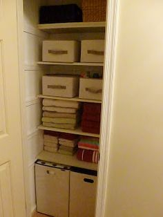 Use 31 bins to put blankets and junk in the linen closet.