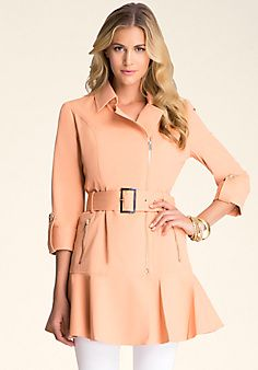 Bebe Belted Flare Trench Coat