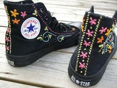 Decorate your shoes....Embroidered converse. by Mooky