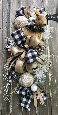 Christmas DIY : Excited to share this item from my shop: Rustic Christmas Wreath Christmas Swag Rustic Christmas Swag Rustic Reindeer Wreath Christmas Decor Christmas Teardrop Swag Diy Christmas Decorations For Home, Christmas Swags, Plaid Christmas, Holiday Wreaths, Holiday Crafts, Christmas Holidays, Reindeer Christmas, Christmas Vacation, Holiday Decor