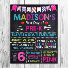 First Day of Preschool  Back to School Sign  by PawtyPrintables