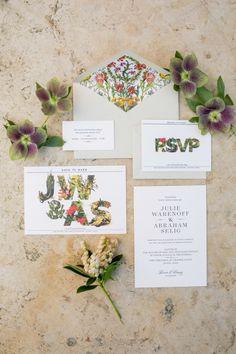 Botanical inspired invitations: http://www.stylemepretty.com/texas-weddings/austin/2015/07/16/romantic-outdoor-jewish-wedding-in-austin/   Photography: The Nichols - http://www.nicholsphotographers.com/