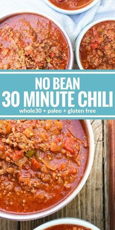 This No Bean 30 Minute Chili is the ultimate comfort food. Plus it's paleo, & gluten free! This No Bean 30 Minute Chili is the ultimate comfort food. Plus it's paleo, & gluten free! Mexican Food Recipes, Beef Recipes, Soup Recipes, Cooking Recipes, Healthy Recipes, Chilli Recipes, Recipes Dinner, Cake Recipes, Healthy Chili