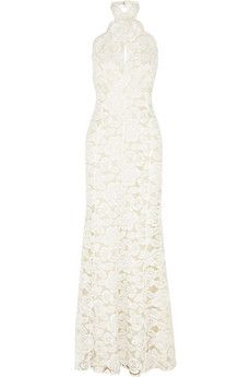 Lover Mia Eternity rose pattered lace and silk gown   NET-A-PORTER