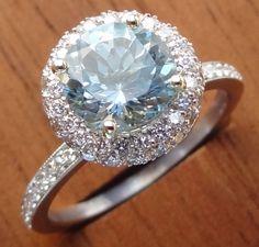 2.07cts Round Aquamarine / Diamond Pave Halo Engagement Ring 18K White Gold