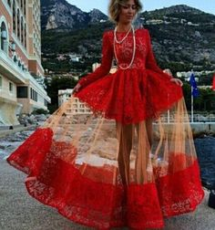 Red Long Sleeve Hollow-out Patchwork Slim Lace Formal Maxi Dress - Maxi Dresses - Dresses