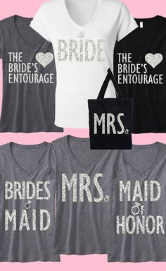 Cute Glitter Bridal Shirts by NobullWomanApparel! #Bride, Mrs., #MaidOfHonor & #Bridesmaids. 3 Shirt Sepcial is $63.95 on Etsy. Click here to buy and have your whole Bridal Entourage sparkle! https://www.etsy.com/listing/178491866/3-wedding-bride-bridesmaids-tops-15-off?ref=shop_home_active_15