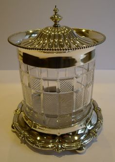 Elegant Antique English Cut Crystal & Silver Plate Biscuit Box by Walker & Hall c.1890