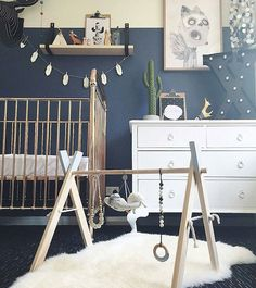 This has got to be my all time favourite boys nursery and I'm stoked to have my mobile in it. Xander is one lucky little man @eliseraquel! When Elise asked for a custom mobile in black, white, grey, spearmint and gold, I wondered how she would do the nursery and then it all started to take shape into this. Amazing!  See original post for all the details of all the other goodies in this pic