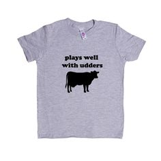 Plays Well With Udders Cow Cows Farm Farms Farmer Animal Animals Mammals Mammal Pun Puns Play On Words Funny SGAL9 Unisex Kid's Shirt