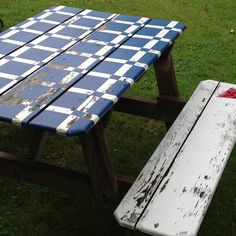 Hand painted picnic table bought at Hall's Prairie Elementary Country Fair - made as a fund raiser picnic tables Outside Furniture, Outdoor Furniture, Outdoor Decor, Painted Picnic Tables, Hidden House, Country Fair, Cabins In The Woods, Cool Paintings, Humble Abode