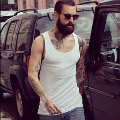 RICKI HALL ~! simple look beard tattoo wifebeater shirt grey jeans fashion streetstyle sunglasses ray-ban style men tumblr