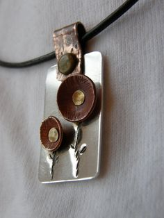 Fine silver and copper flower pendant A must by MaryMakingThings.