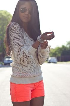 Neon-fashion-24_large. Love the lacy knit with the coral colored shorts.