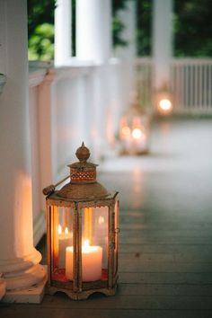 lanterns on the porch.