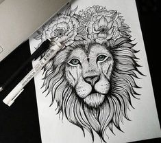 Click the picture to see the other lion tattoo collection . Ems Tattoos, Bild Tattoos, Future Tattoos, Body Art Tattoos, Sleeve Tattoos, Tatoos, Lion Tattoo Design, Tattoo Designs, Tattoo Ideas