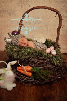 An Easter Basket 'Grass' Baby BLANKET Photo Props Rug