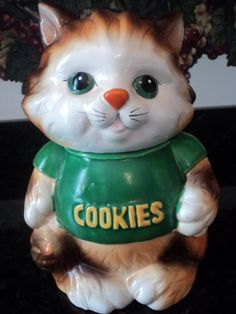 Vintage Cat Cookie Jar Tabby Cat in t shirt by inkwizard on Etsy