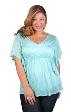 plus size kimono sleeve top with cinched waist and rhinestones