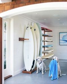 board decor surf board decor - w a few surfers in the family, this made the most sense for use of porch.surf board decor - w a few surfers in the family, this made the most sense for use of porch. Surf Decor, Decoration Surf, Surfboard Storage, Surfboard Rack, Beach Cottage Style, Beach House Decor, Home Decor, Style Surf, Deco Surf