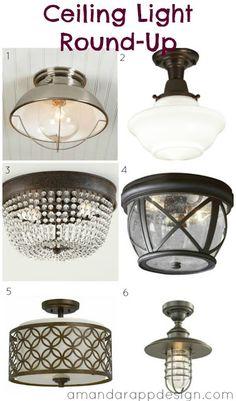 ceiling light options, ceiling light round up, hallway light options, bedroom lights, amandarappdesign.com